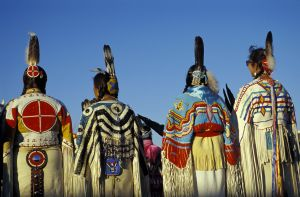 Womens Traditional Dancers, North American Indian days, Browning, Montana, USA